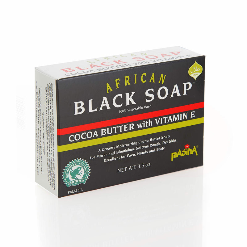 Madina Halal African Black Soap with Cocoa Butter - Front