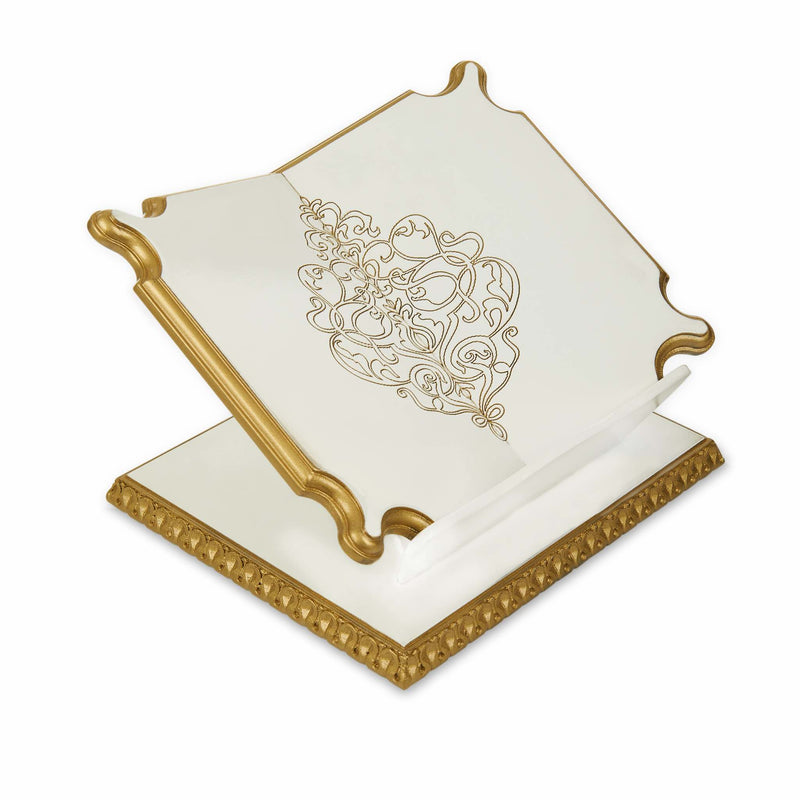 Premium Book Stand and Rehal in Golden White - Side