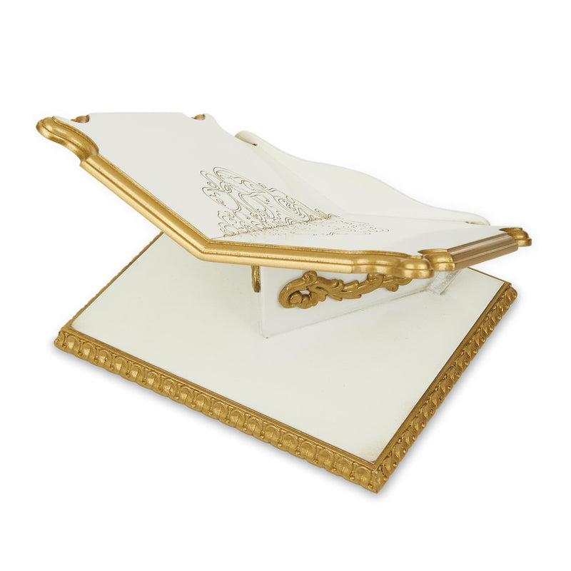 Premium Book Stand and Rehal in Golden White - Back