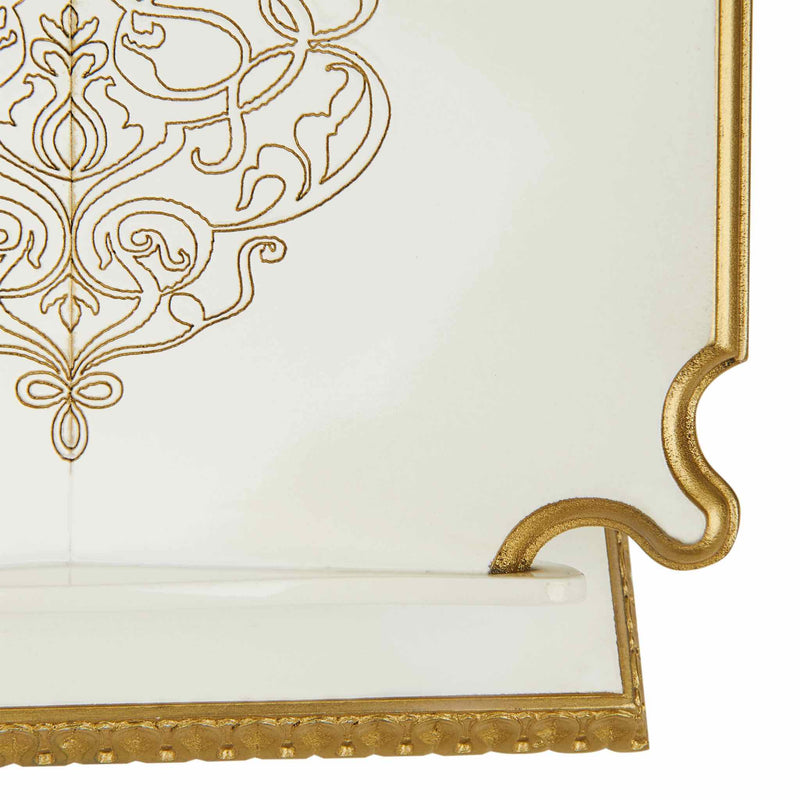 Premium Book Stand and Rehal in Golden White - Detail