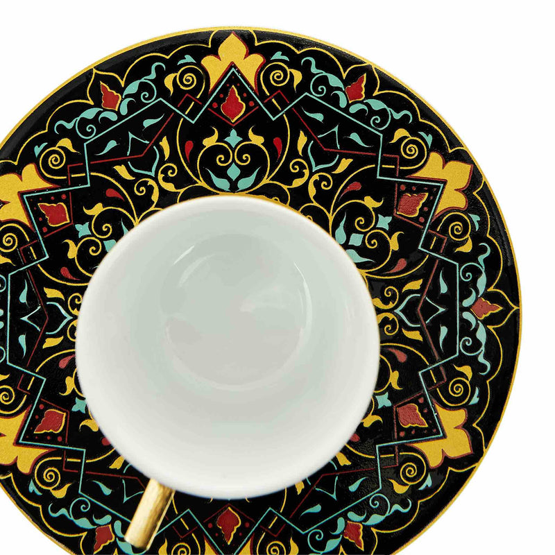 Black Floral Patterned Turkish Coffee Set