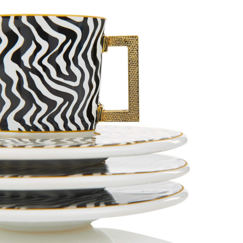 Black Zebra Striped Turkish Coffee Set - Detail