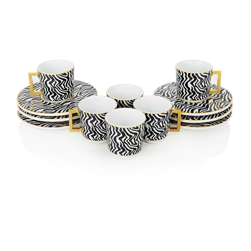 Black Zebra Striped Turkish Coffee Set - Front