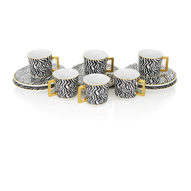 Black Zebra Striped Turkish Coffee Set - Front 1