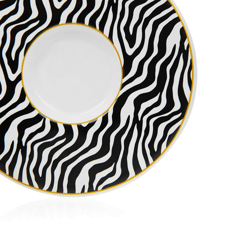 Black Zebra Striped Turkish Coffee Set - Saucer Detail
