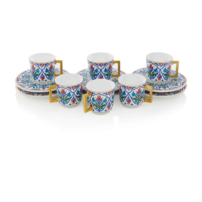 Blue Floral Patterned Turkish Coffee Set - Front 2