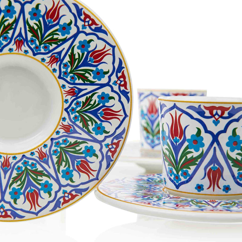 Blue Floral Patterned Turkish Coffee Set - Saucer Detail