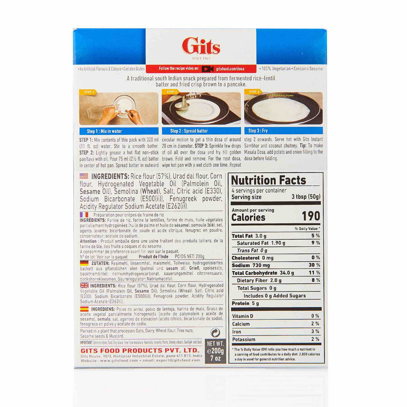 Gits Dosa Recipe Mix - Ingredients
