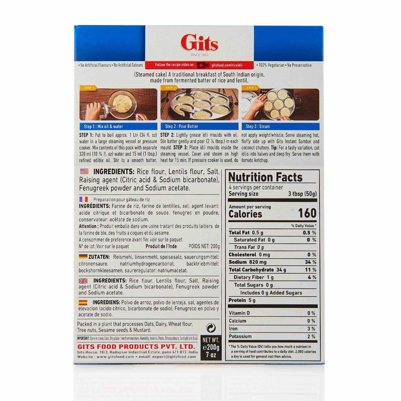 Gits Rice Idli Recipe Mix - Ingredients