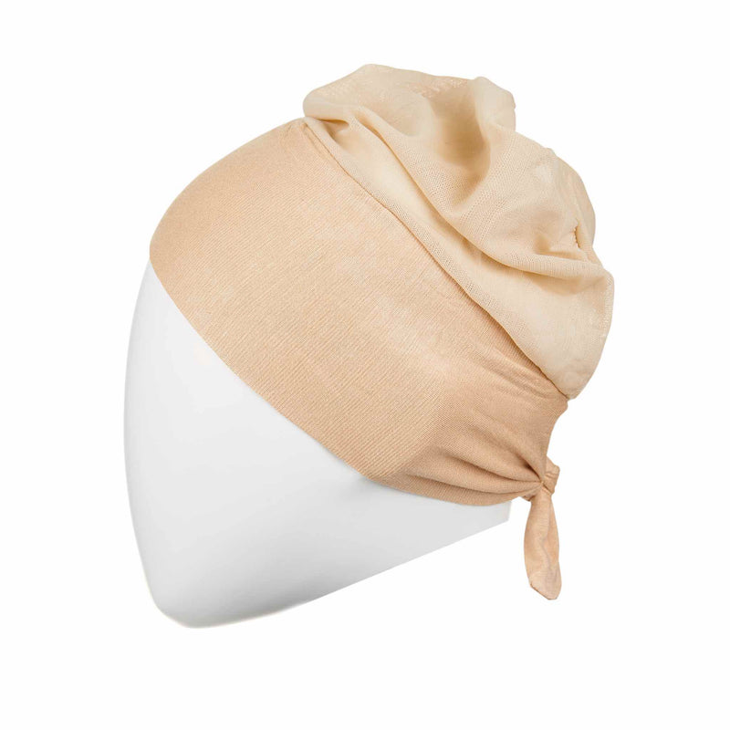 Active Breathable Hijab Head Cap in Beige - Front