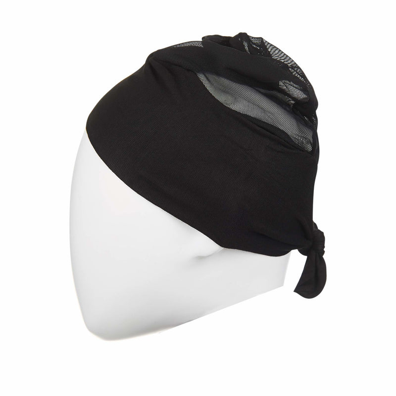 Active Breathable Hijab Head Cap in Black - Front