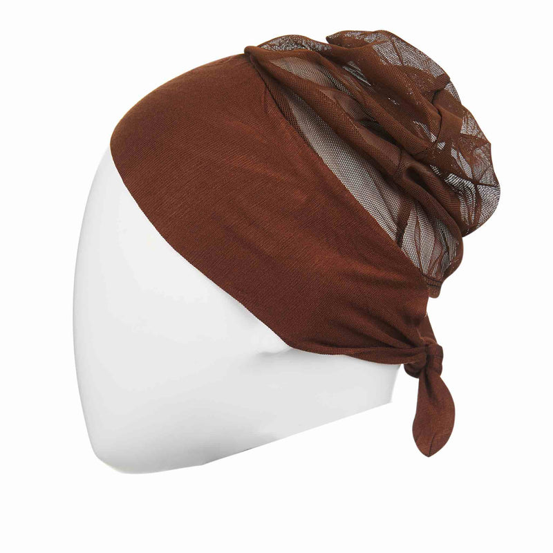 Active Breathable Hijab Head Cap in Brown - Front