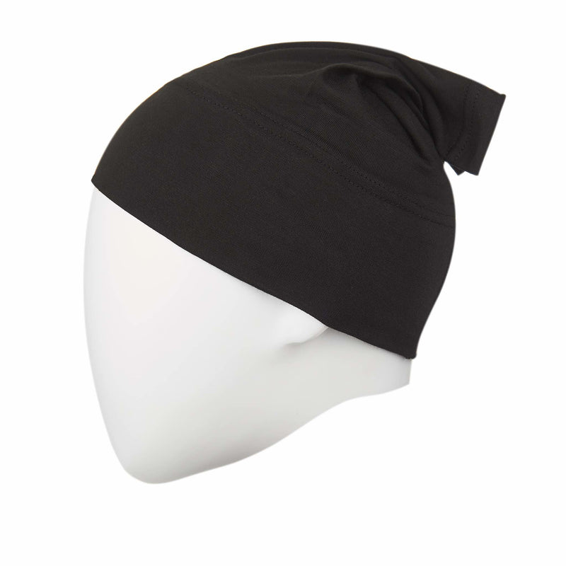 Black Regular Full Size Hijab Head Cap - Front
