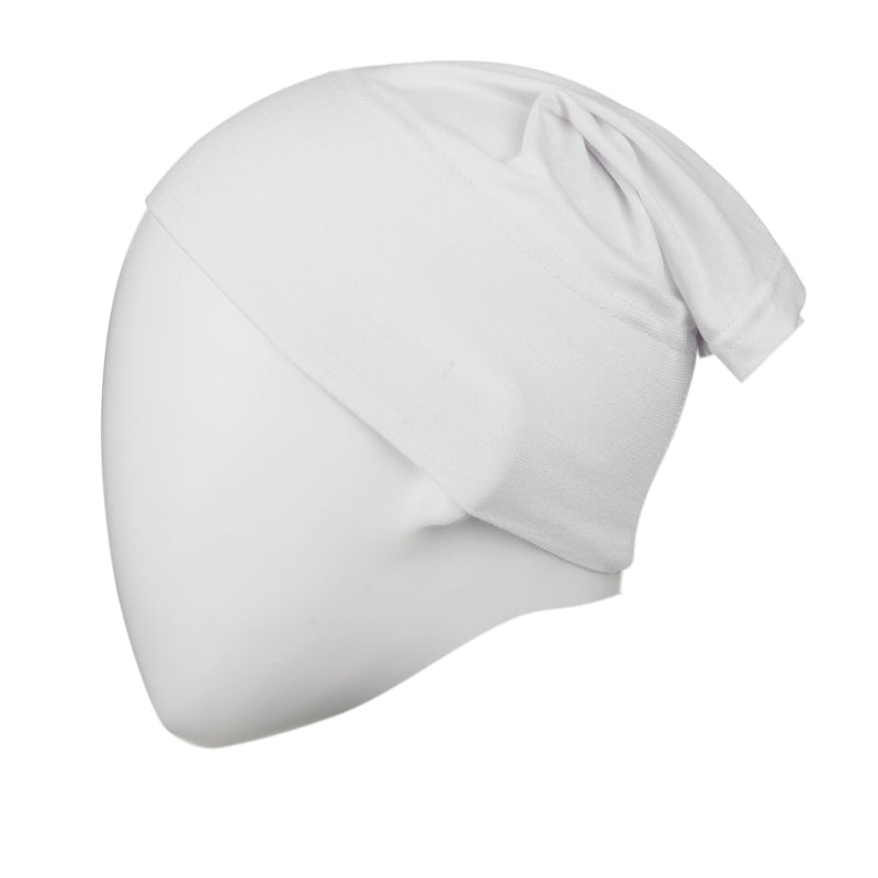 White Regular Full Size Hijab Head Cap - Front