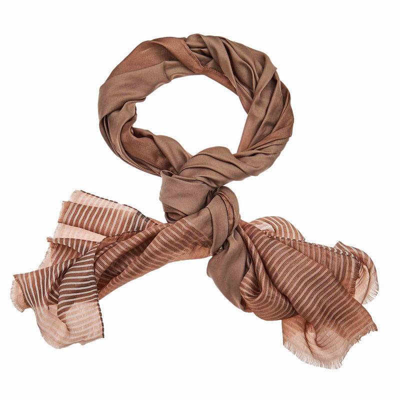 Silk Striped Hijab in Brown
