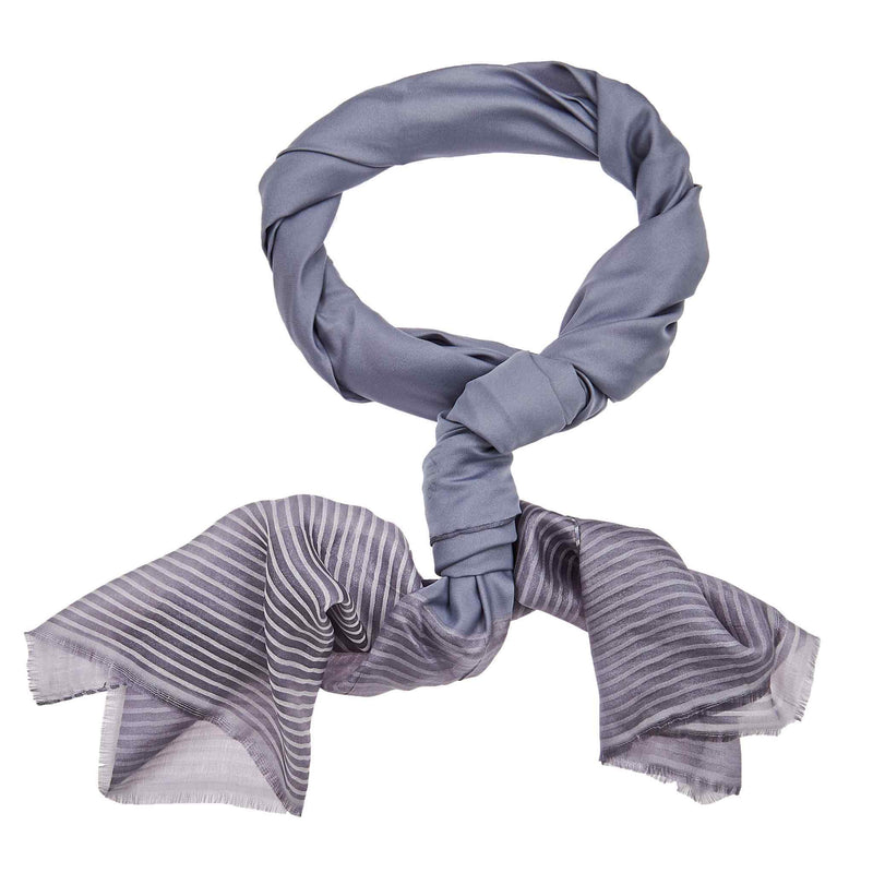 Silk Striped Hijab in Rock Grey