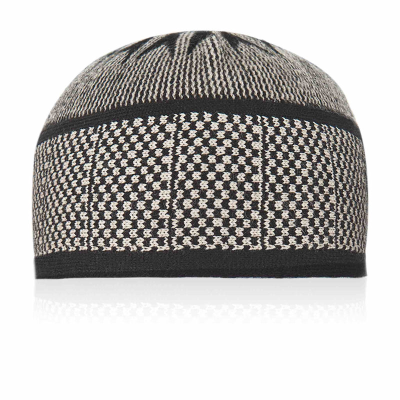 Black White Knitted Kufi Cap - Front