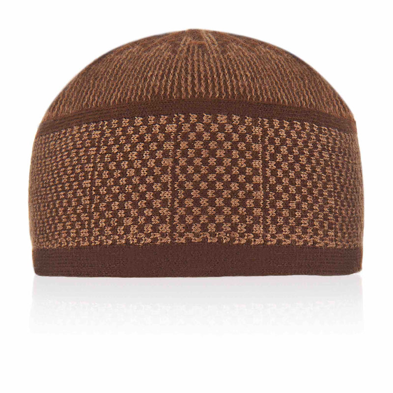Brown Golden Knitted Kufi Cap - Front