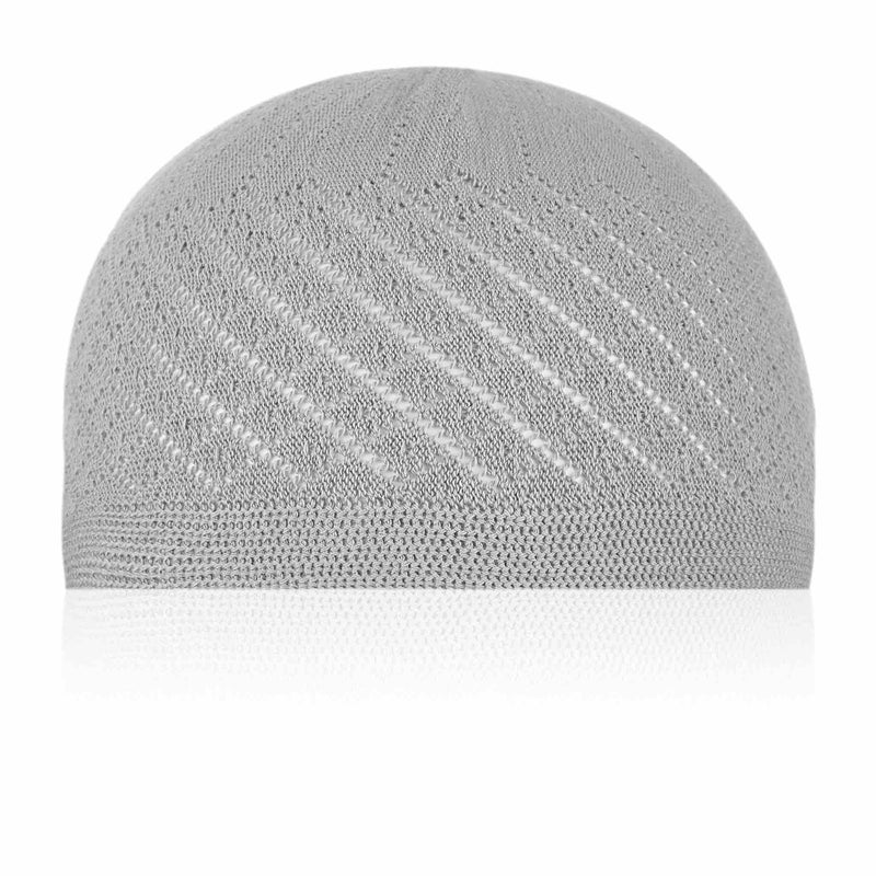 Classic Grey Knitted Kufi Cap - Full size
