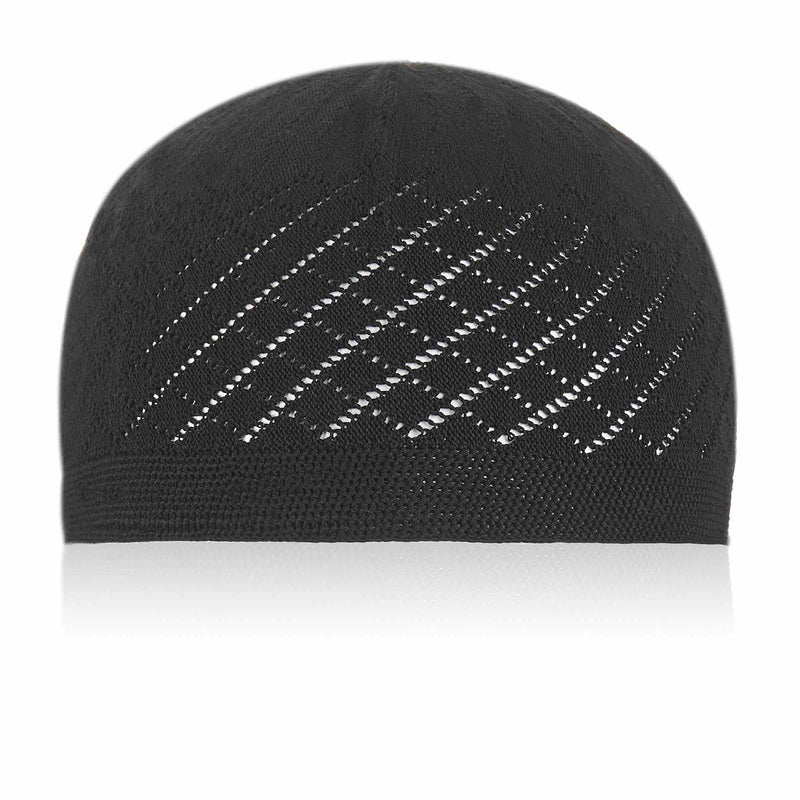 Classic Black Knitted Kufi Cap Full Size - Front