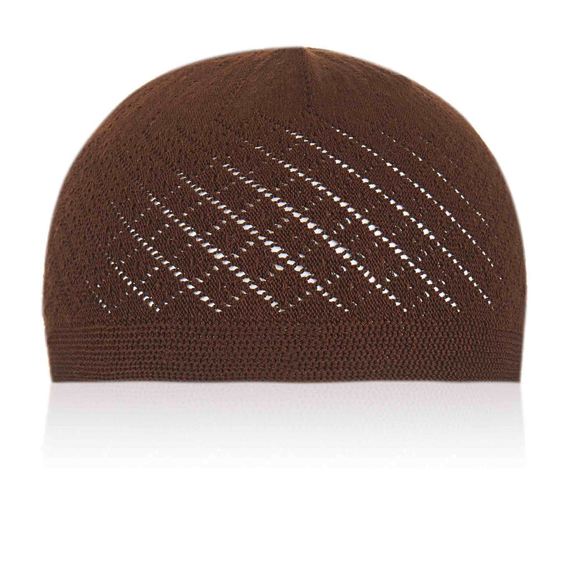 Classic Brown Knitted Kufi Cap Full Size - Front
