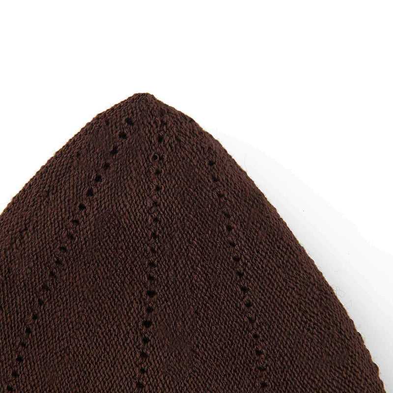 Classic Brown Knitted Kufi Cap Full Size - Detail