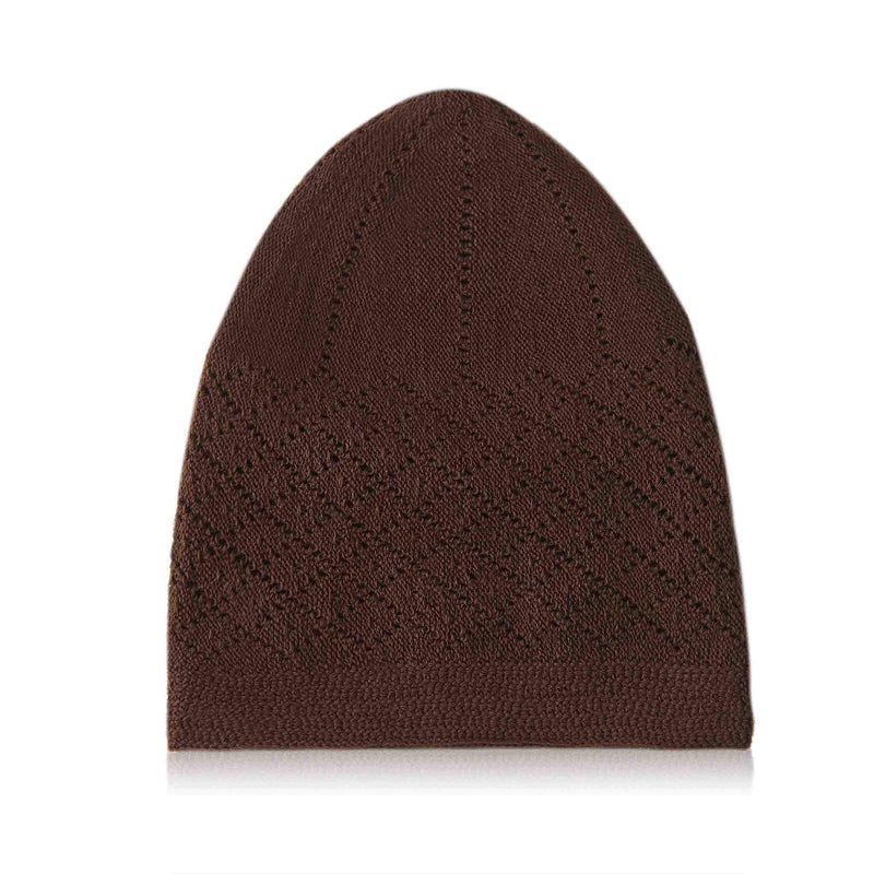 Classic Brown Knitted Kufi Cap Full Size - Folded
