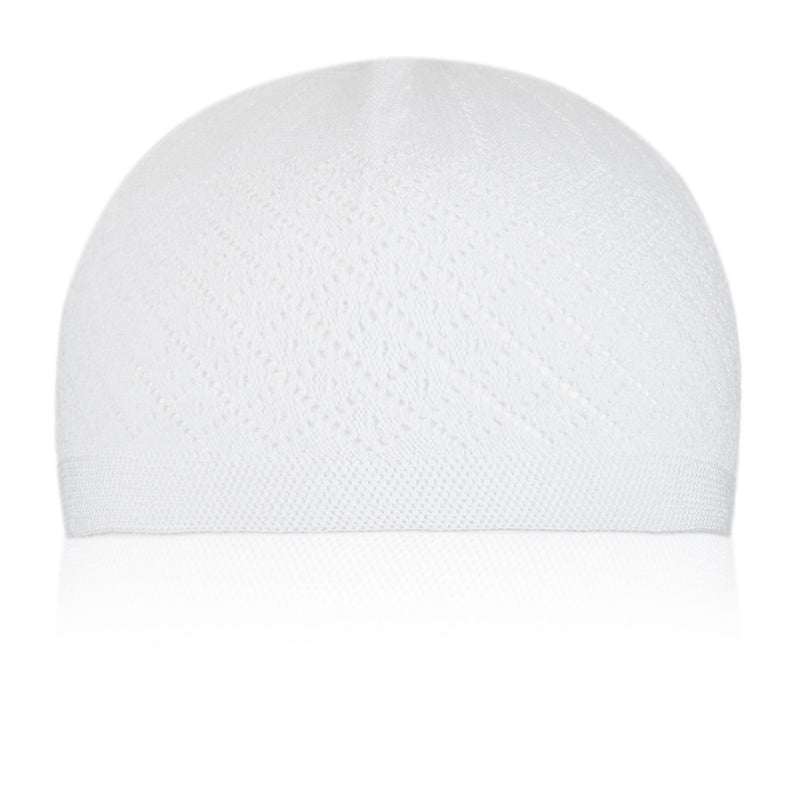 Classic White Knitted Kufi Cap Full Size - Front