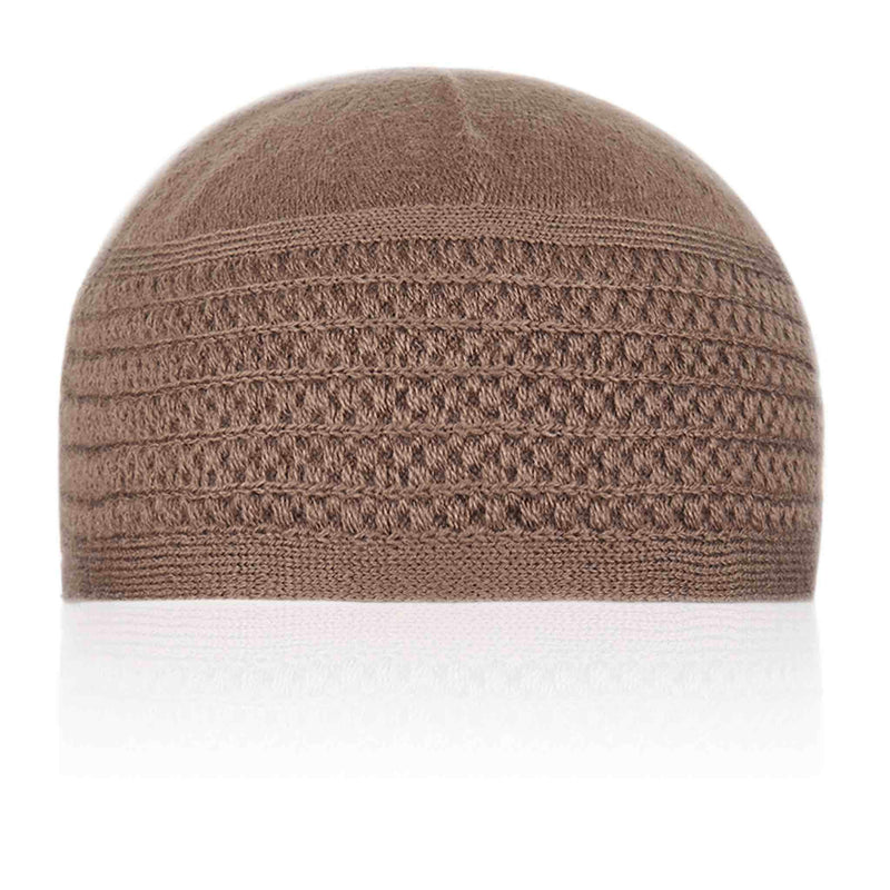 Brown Patterned Kufi Cap - Front