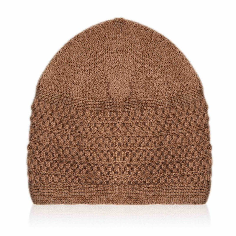Light Brown Stripped Kufi Cap - Folded