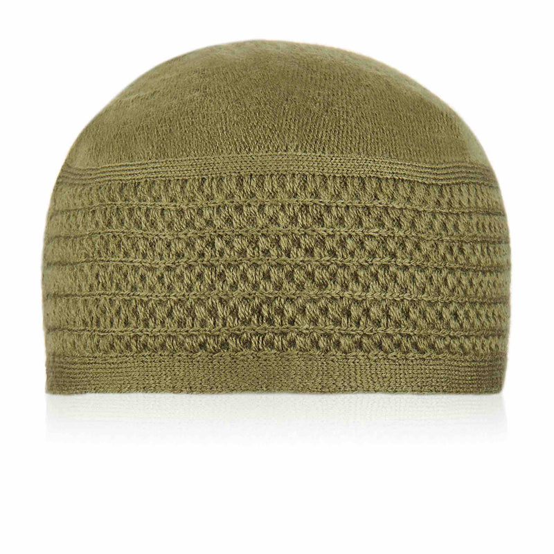 Light Green Stripped Kufi Cap - Front