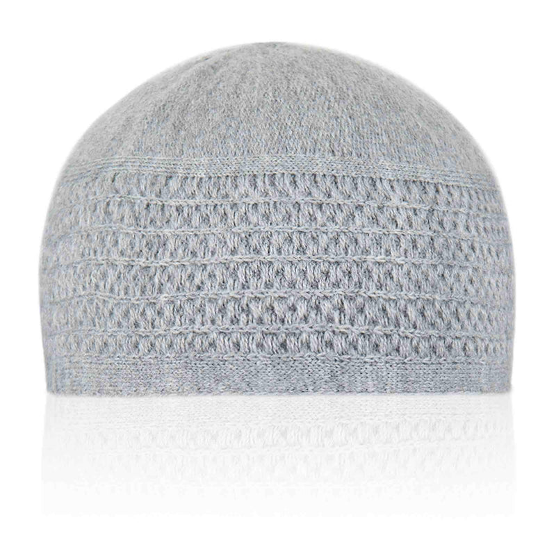 Grey Patterned Kufi Cap - Front