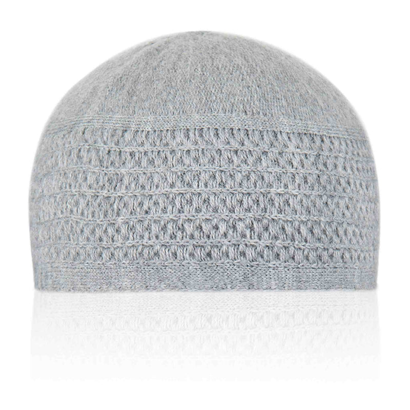 Light Grey Stripped Kufi Cap - Front