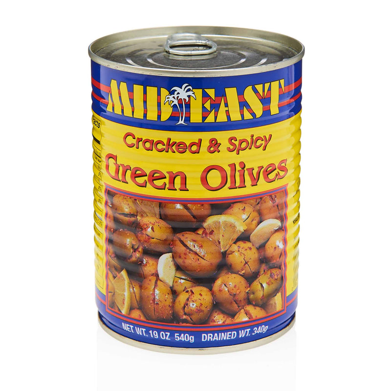 MidEast Cracked & Spicy Green Olives - Front