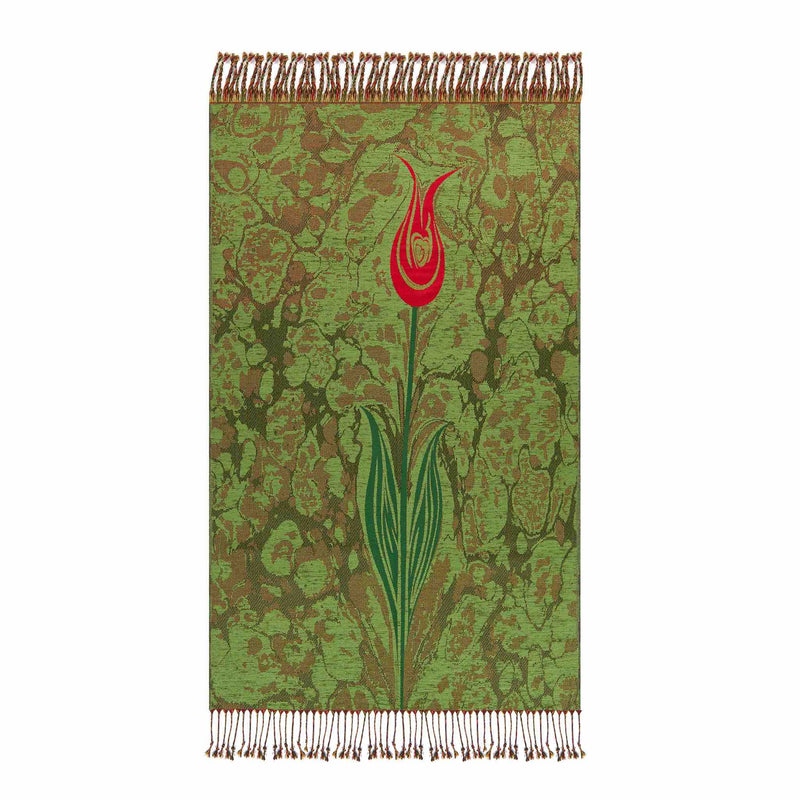 Floral Payer Rug in Bottle Green Color - Front