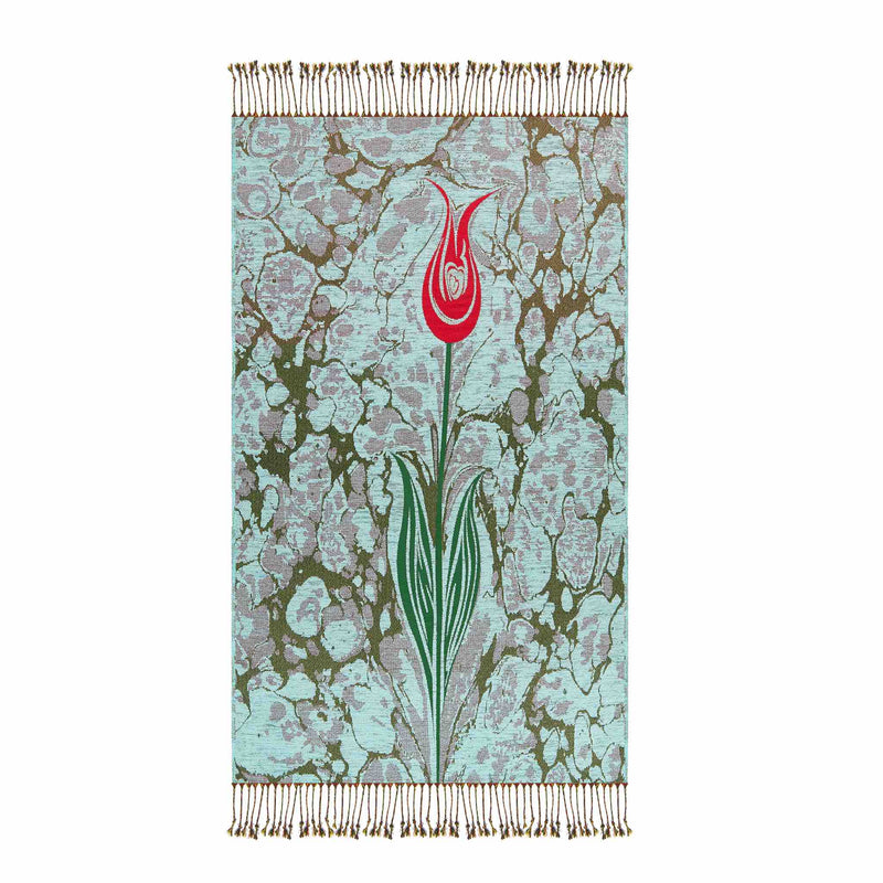 Floral Payer Rug in Teal Color - Front