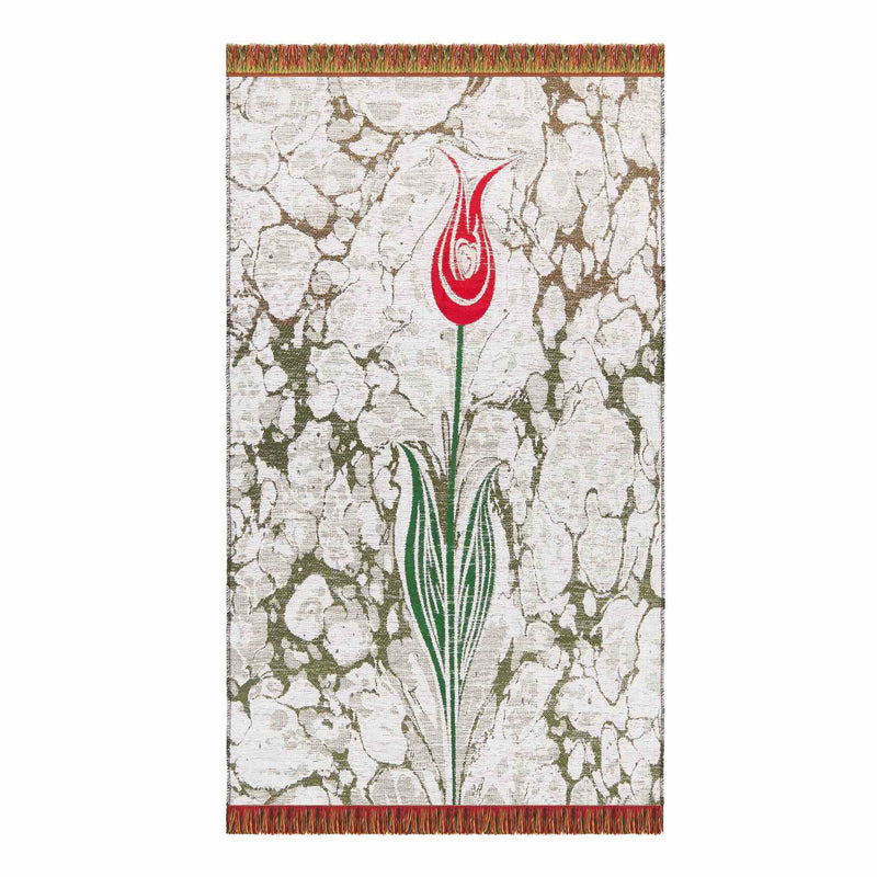 Floral Payer Rug in White Color - Front
