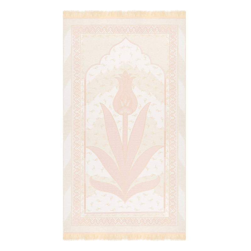 Tulip Prayer Rug in White Pink - Front