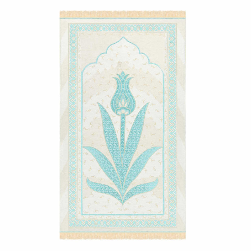 Tulip Prayer Rug in White Teal - Front