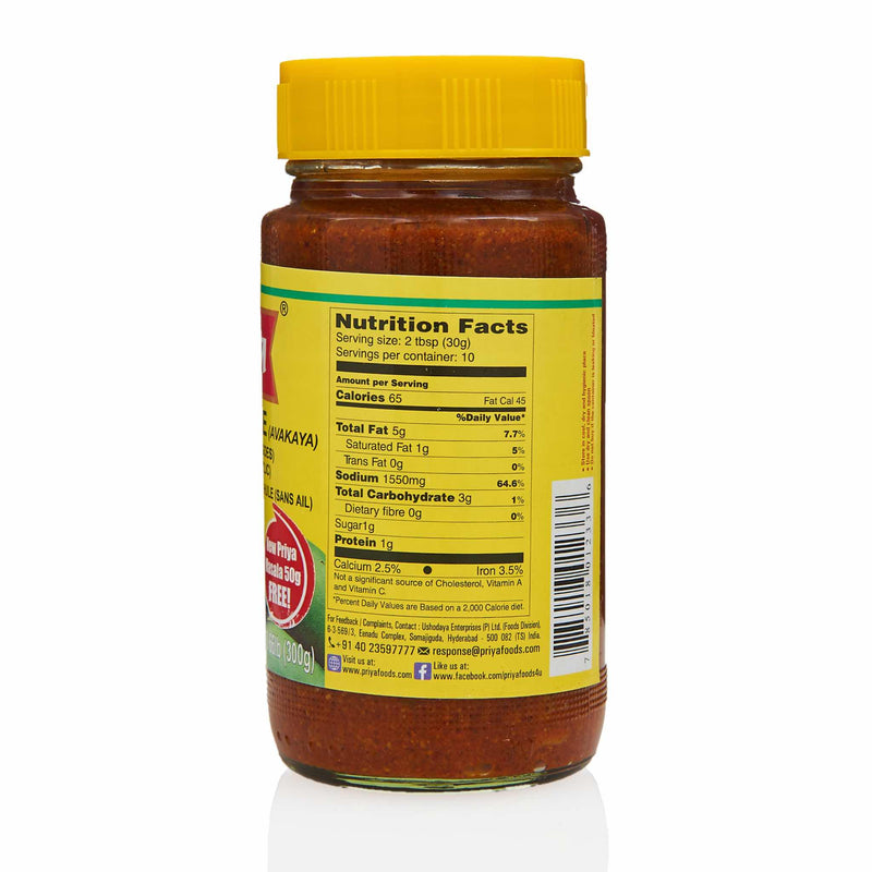 Priya Mango Pickle - Nutrition
