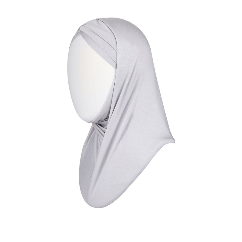 3 striped ready to wear hijab in lavender - front
