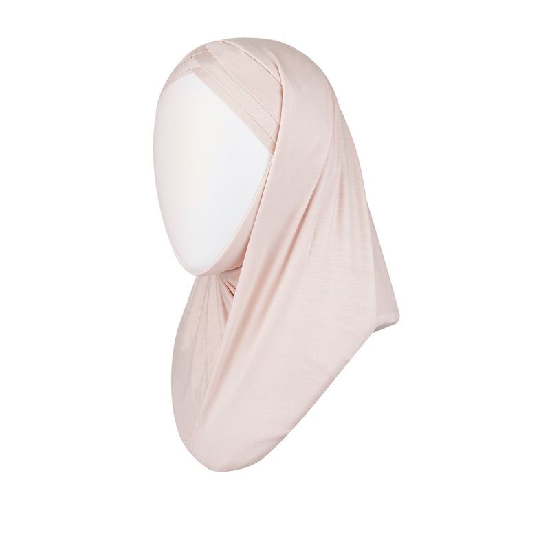 3 striped ready to wear hijab in pale pink - front