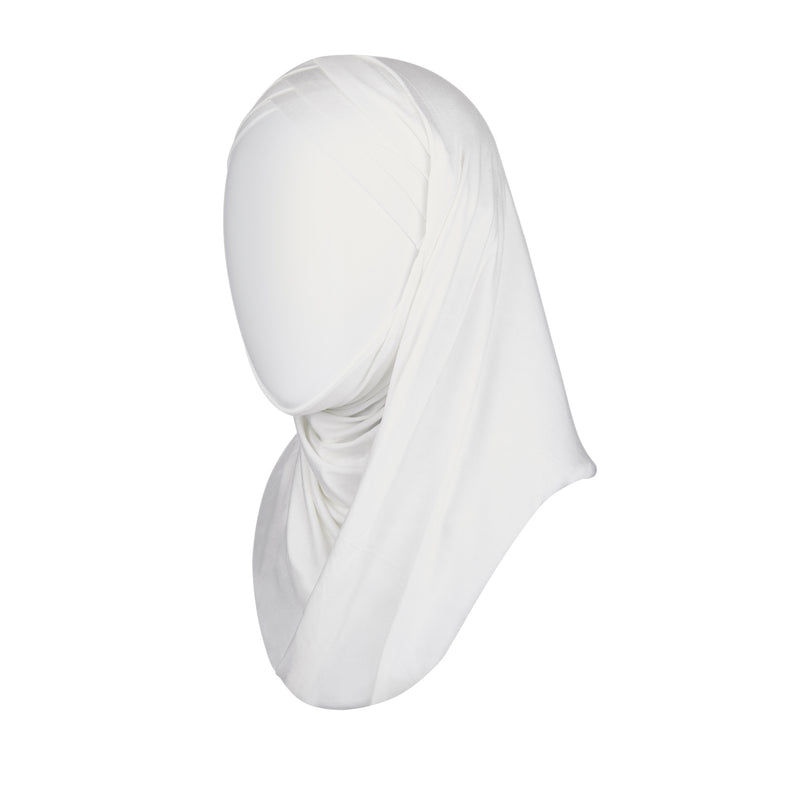 3 striped ready to wear hijab in white - front