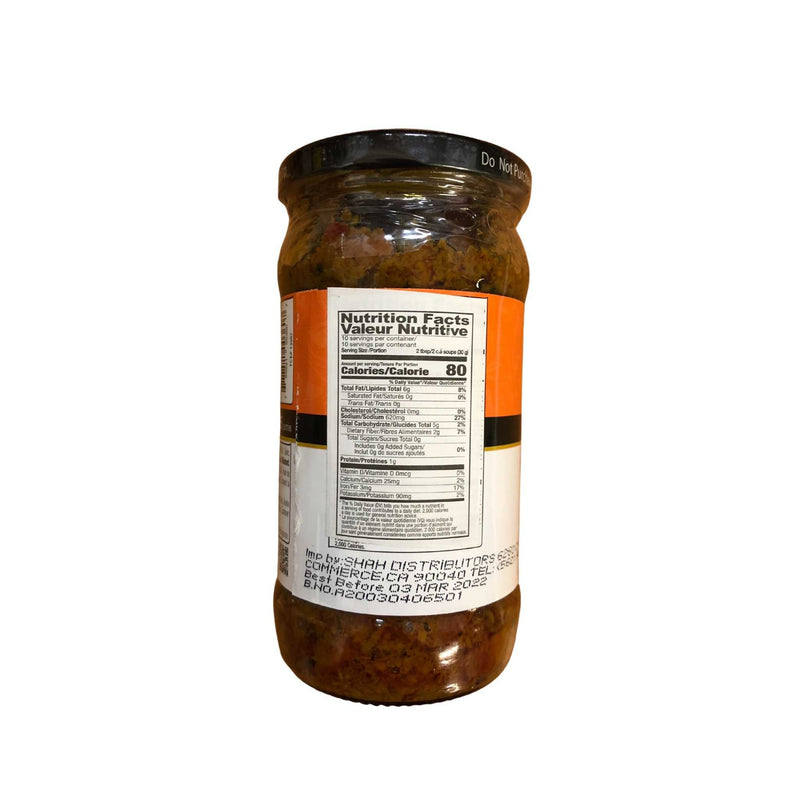 Shan Carrot Pickle - Nutrition