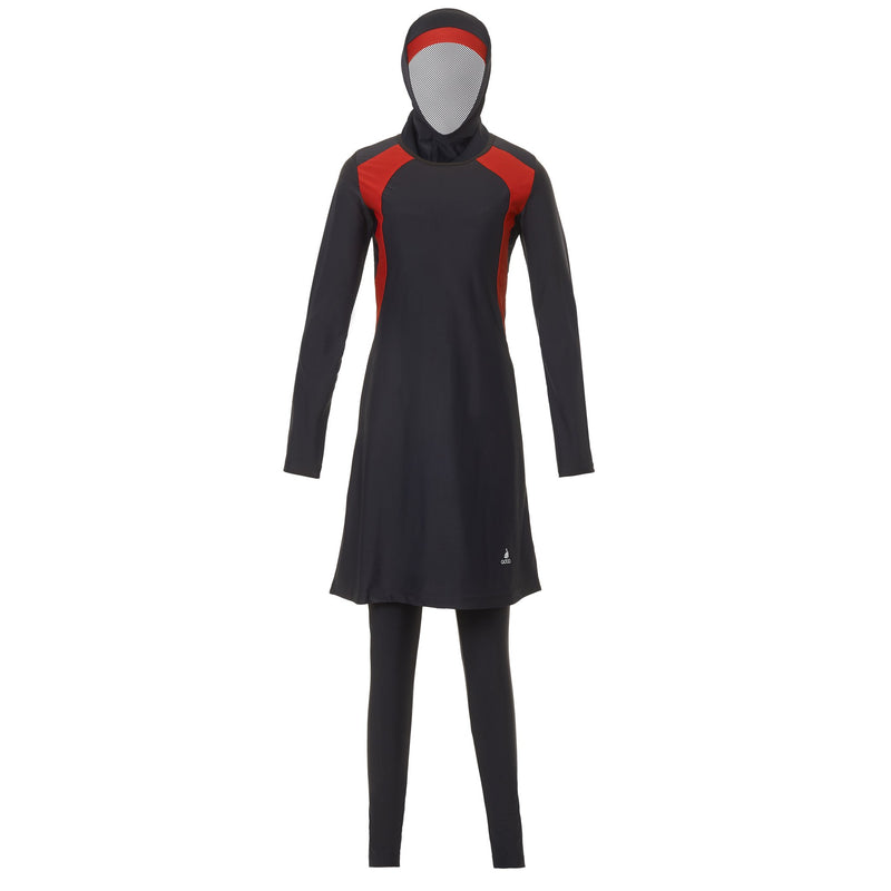 Black and Red Striped Burkini Swimwear - Front