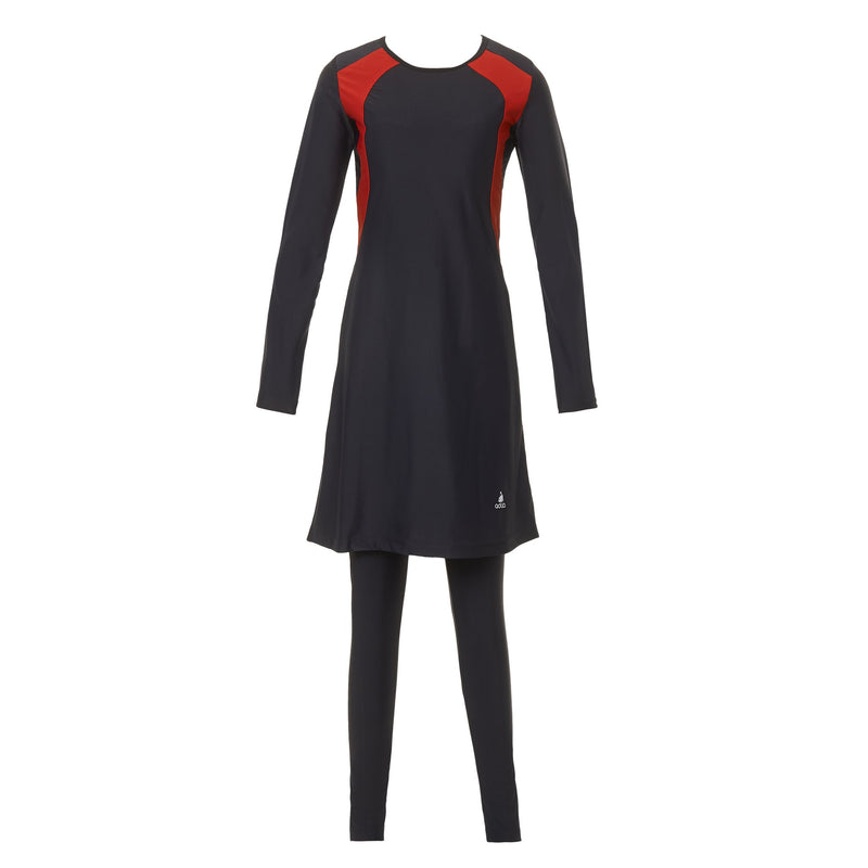 Black and Red Striped Burkini Swimwear - Ghost