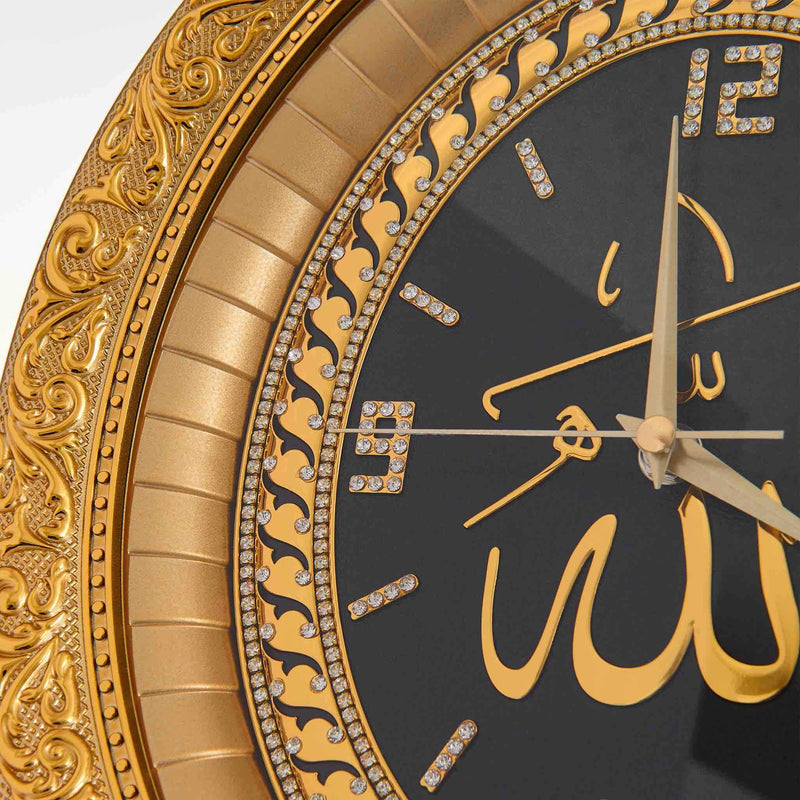 Wall Clock Black Golden Allah - Details