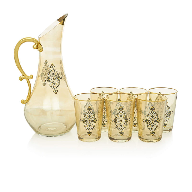 Black and Golden Filigree Water Serving Set - Front
