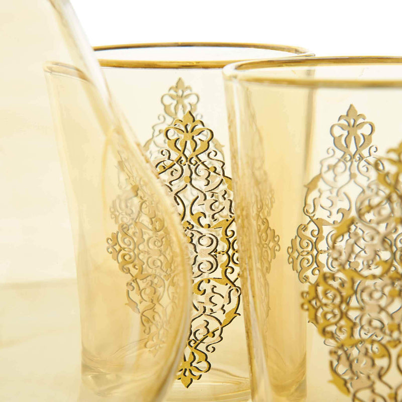 Gilded Gold Filigree Water Serving Set - Glass detail