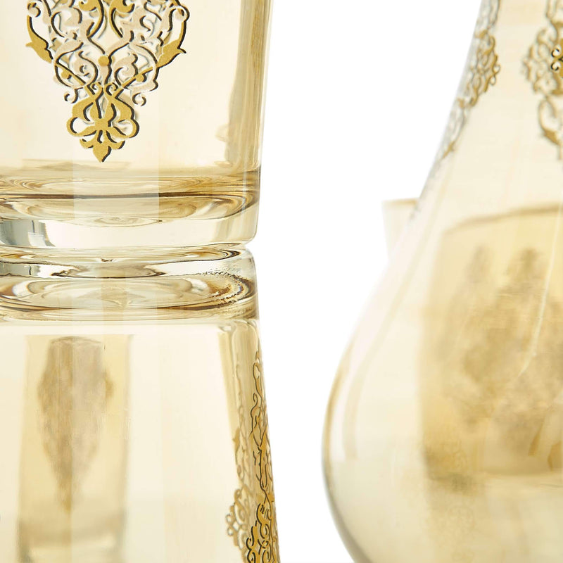 Gilded Gold Filigree Water Serving Set - Glass Detail 2